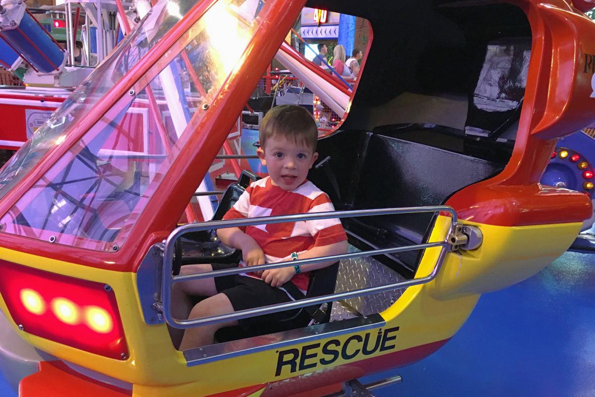 Toddler on ride at Adventuredome Circus Circus