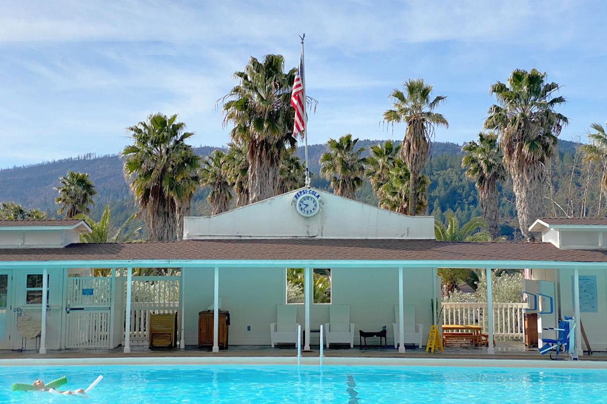 Swimming pool and clock at Indian Springs Resort in Calistoga California