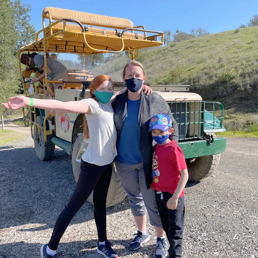 Family at Safari West jeep tour in Santa Rosa California