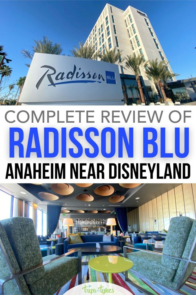 Review of the brand new in 2021 Radisson BLU Anaheim Hotel near Disneyland. Photo and video tour of rooms, Blu SkyBar food, pools, and deals and discounts on this luxury Anaheim, California hotel.
