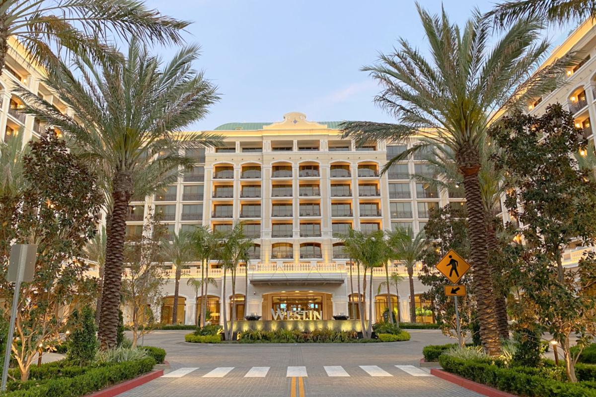 Exterior of the Westin Anaheim Resort hotel near Disneyland