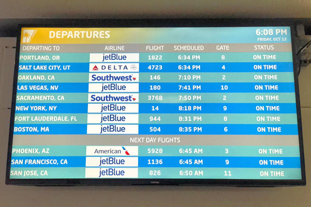 JetBlue flights on airport departures board