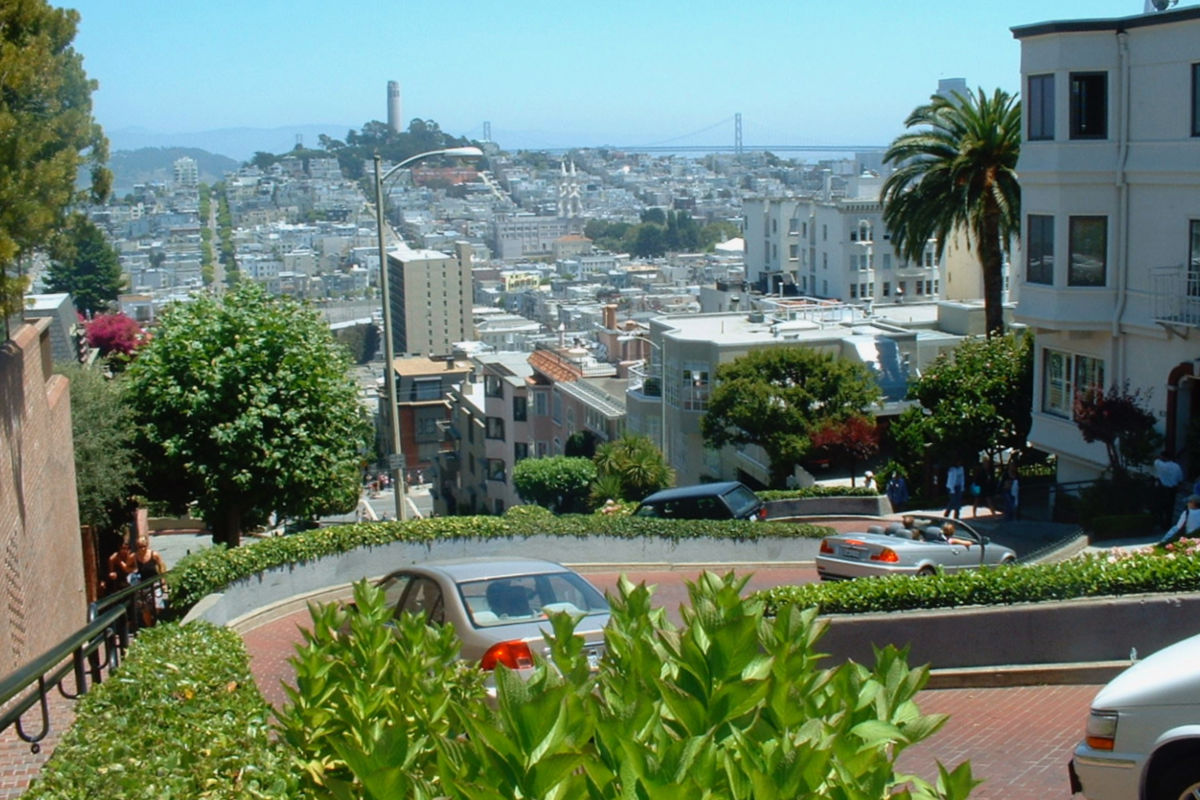 Cars driving the crookedest street in the world, Lombard Street in San Francisco.