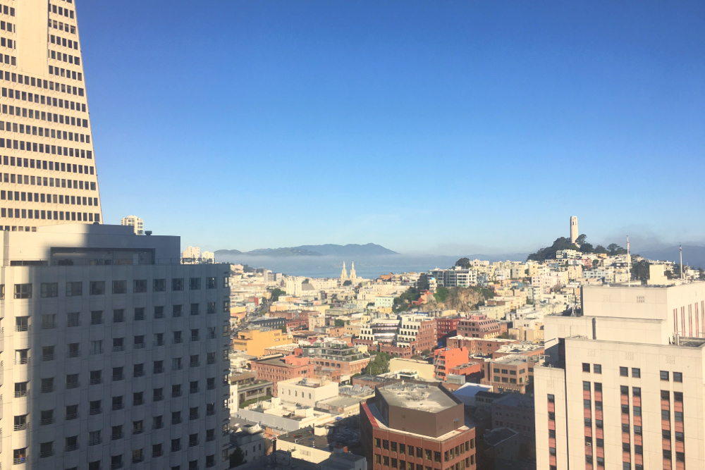 Coit Tower and Transamerica Pyramid view in San Francisco