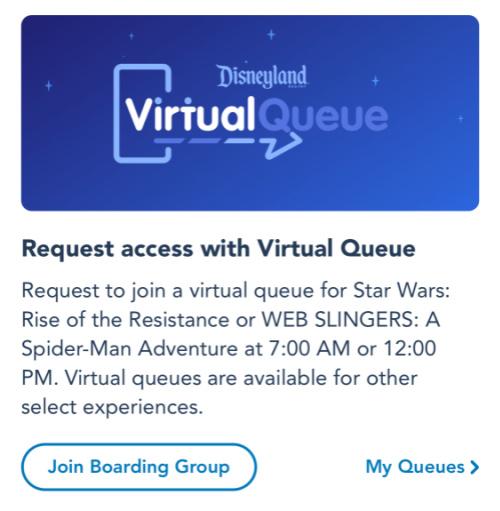 Screenshot of Disneyland app showing WEB SLINGERS Virtual Queue