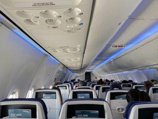 Inside Southwest 737-800 airplane in summer 2021