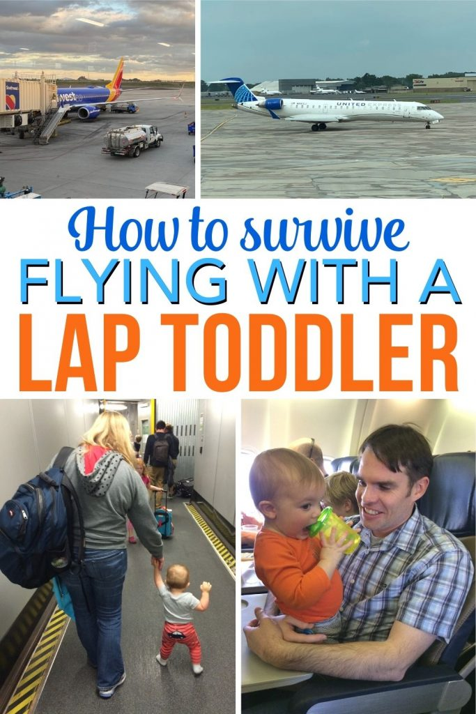 Flying with a toddler under 2 in your lap? If you haven't bought a seat for your little one, here are tried and true tips for managing a mobile and opinionated toddler on a plane, even in tight quarters!