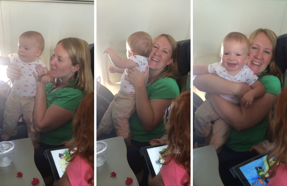 Squirmy toddler on airplane with mom