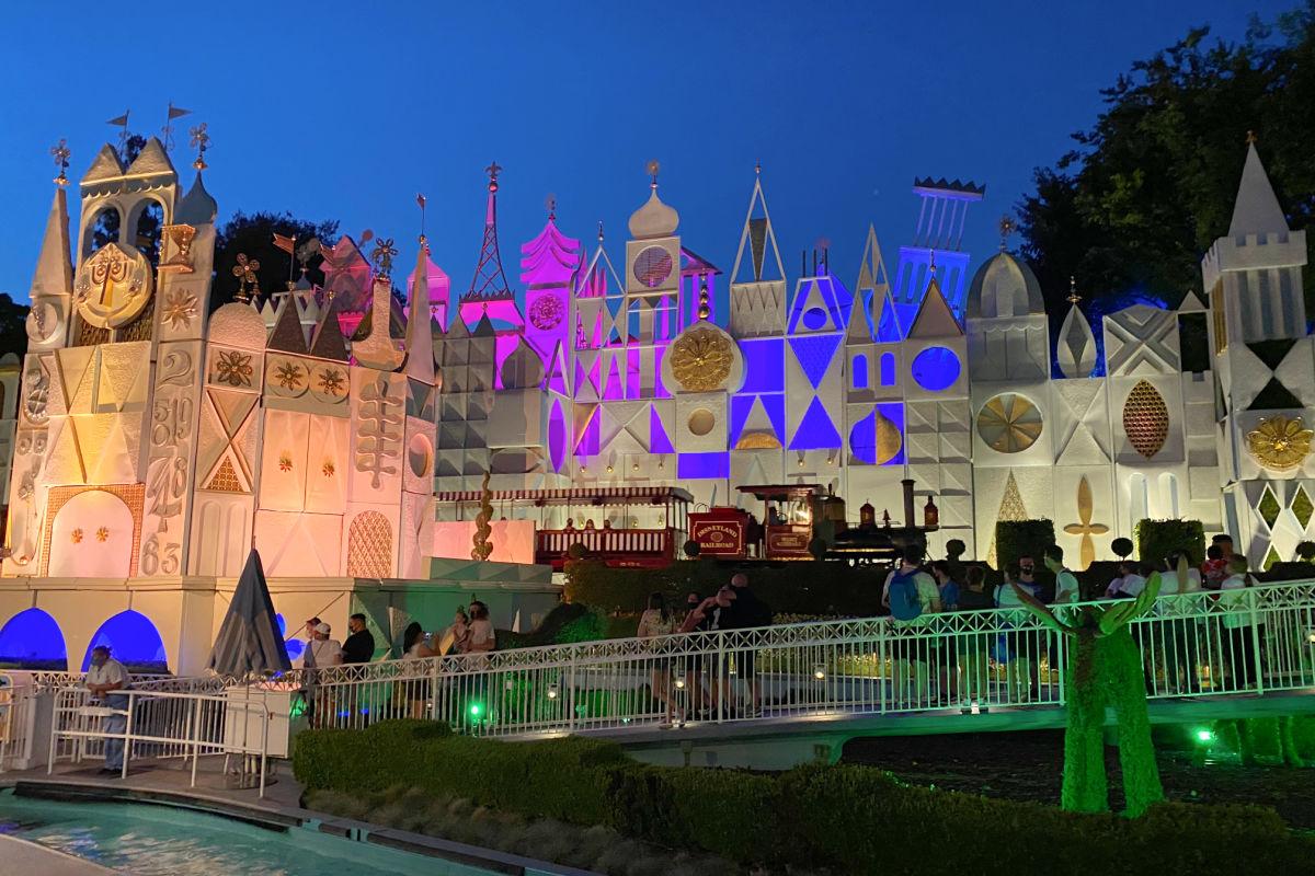 it's a small world at Disneyland at dusk