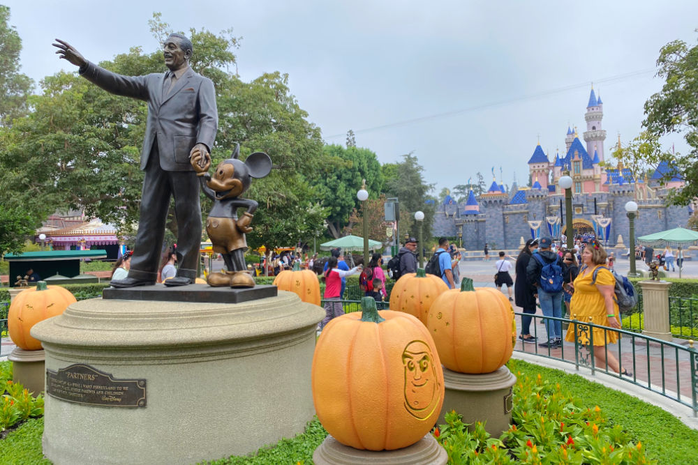 Disneyland Halloween Time Walt Mickey Partners Statue with pumpkins
