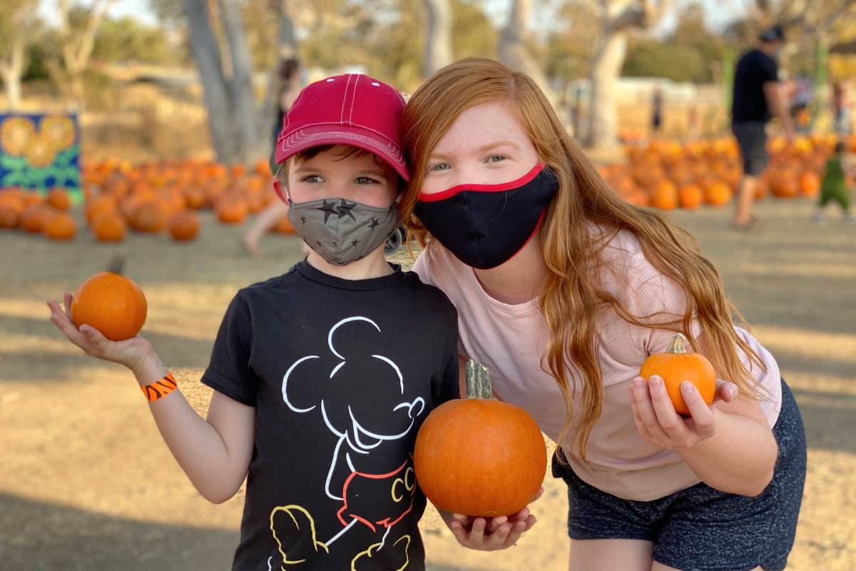 Kids at pumpkin patch in San Francisco Bay Area