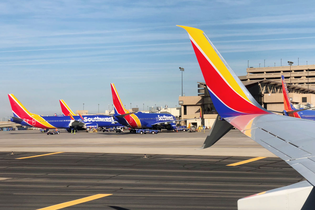 Southwest airplanes taxiing at PHX Airport