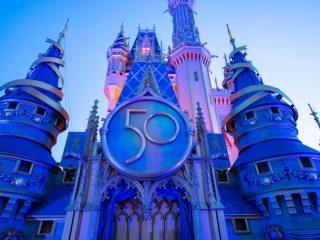Disney World 50th Anniversary Cinderella Castle at Dusk