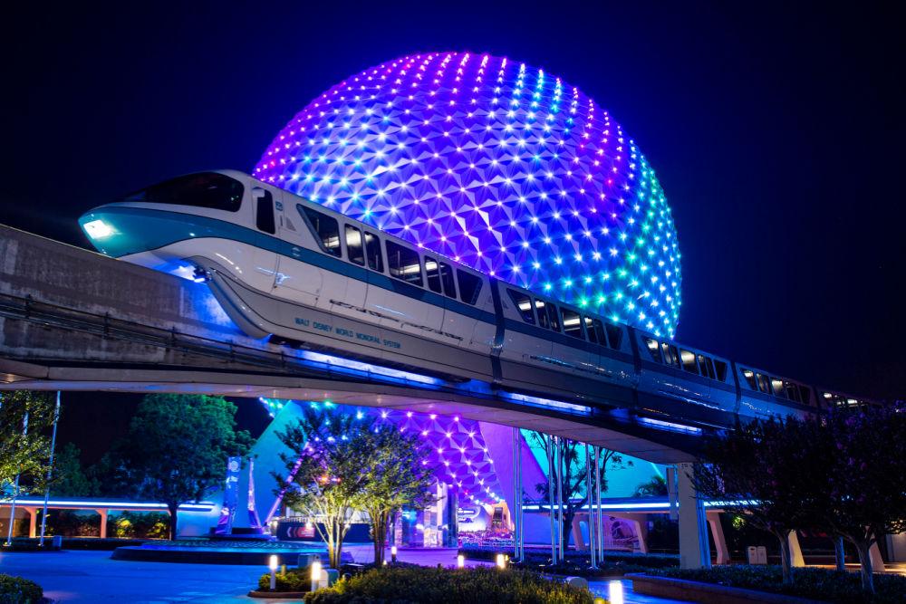 Walt Disney World 50th Anniversary Monorail Lighting at Epcot